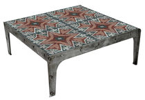 Coffee table / industrial style / cement / patinated metal