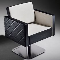 Synthetic leather beauty salon chair / chrome steel / central base / reclining