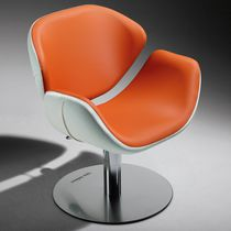 Synthetic leather beauty salon chair / central base / with armrests / reclining