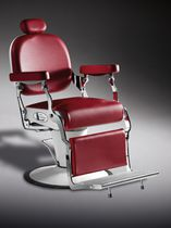 Chromed metal barber chair / synthetic leather / with headrest / with hydraulic pump