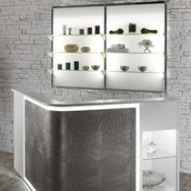 Wall-mounted display rack / beauty product / glass / backlit