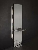 Wall-mounted shelf / contemporary / metal / for hairdressers