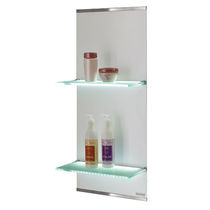 Wall-mounted display rack / beauty product / wooden / metal