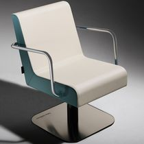 Synthetic leather beauty salon chair / central base / with armrests