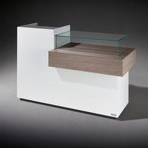 Melamine reception desk / glass / for hairdressers