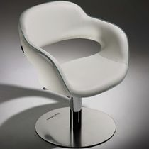 Synthetic leather beauty salon chair / steel / chromed metal / polyurethane