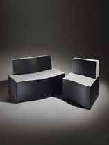 Contemporary upholstered bench / leather / for reception areas / gray