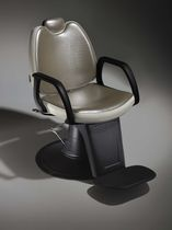 Plastic barber chair / synthetic leather / with headrest / central base