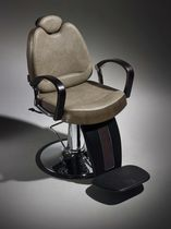 Chrome steel barber chair / wooden / synthetic leather / with headrest