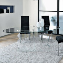 Contemporary Dining Table  Tempered Glass  Rectangular - Glass oval dining table