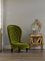Traditional armchair / velvet / high-back / green