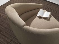 Contemporary armchair / swivel / textile / beige
