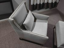 Contemporary armchair / leather / gray