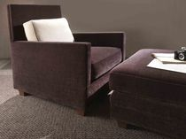 Contemporary armchair / textile / brown