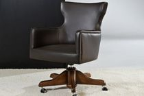 Contemporary office armchair / leather / swivel / star base