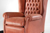 Chesterfield armchair / leather / high back / bergere