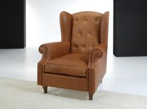 Traditional armchair / leather / high-back / upholstered