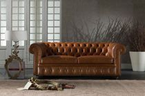 Convertible sofa / Chesterfield / leather / 2-seater
