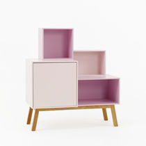 Contemporary sideboard / lacquered wood / lacquered MDF / with shelf