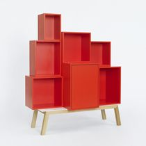 High sideboard / contemporary / lacquered wood / lacquered MDF