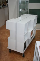 Self-supporting shelving system / contemporary / MDF / for shops