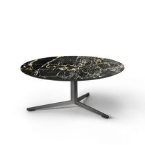 Contemporary coffee table / wooden / metal / marble