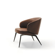 Contemporary armchair / fabric / leather / by Roberto Lazzeroni