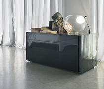 Contemporary chest of drawers / lacquered wood / black