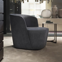 Contemporary fireside chair / fabric / by Roberto Lazzeroni
