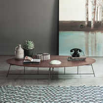Contemporary coffee table / wooden / steel / matte lacquered wood
