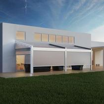 Wall-mounted pergola / aluminum / fabric sliding canopy / bioclimatic