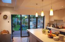 Sliding and stacking patio door / aluminum / double-glazed / triple-glazed