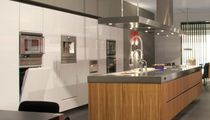 Contemporary kitchen / stainless steel / wood veneer / island
