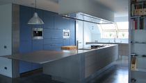 Contemporary kitchen / stainless steel / island / matte
