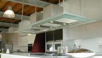 Island range hood / with built-in lighting / original design