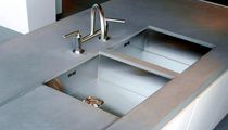 Double kitchen sink / stainless steel / square