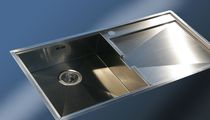 1-bowl kitchen sink / stainless steel / with drainboard