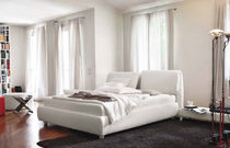 Double bed / contemporary / with adjustable headboard / leather