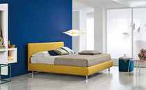 Double bed / contemporary / with in-base storage / fabric