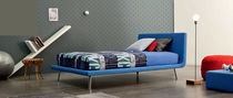 Single bed / contemporary / upholstered / leather