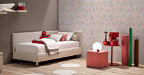 Single bed / contemporary / on casters / fabric