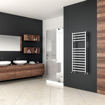 Hot water towel radiator / steel / contemporary / vertical