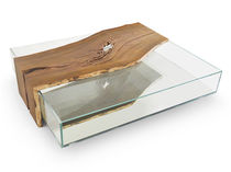 Coffee table / contemporary / glass / solid wood