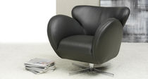 Contemporary armchair / leather / swivel