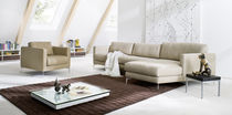 Corner sofa / contemporary / leather / 3-seater
