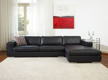 Corner sofa / bed / contemporary / leather