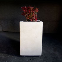 Marble planter / natural stone / rectangular / square