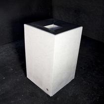 Public trash can / galvanized steel / concrete / marble