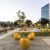Concrete urban armchair / polyurethane-coated