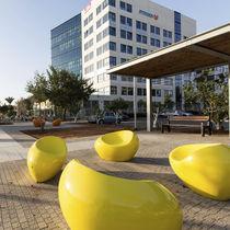 Concrete urban armchair / polyurethane-coated / for public areas / organic design